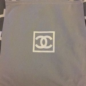 Chanel silver mesh dust bag